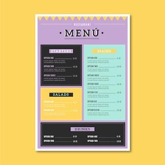 Szablon menu kolorowe jedzenie