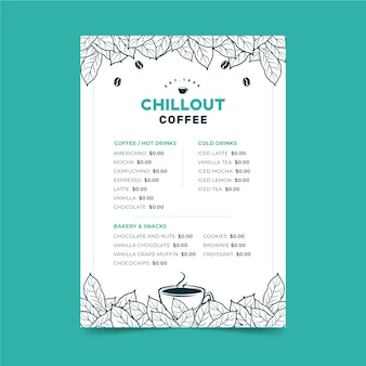 Szablon menu koncepcja kawy