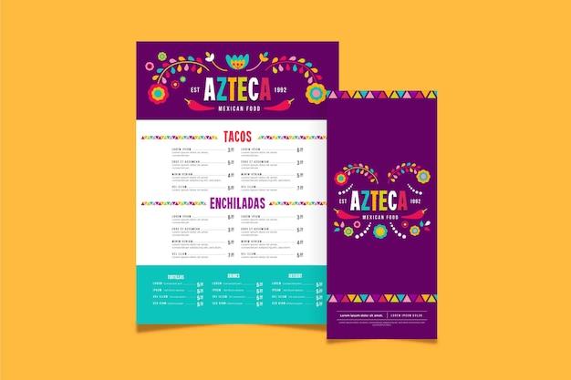 Szablon menu kuchni meksykańskiej
