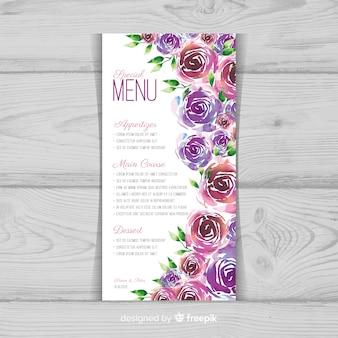 Szablon menu kwiatowy akwarela ślub