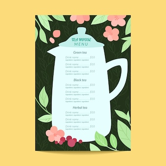 Szablon menu kwiatowy herbaciarni