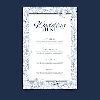 Szablon menu kwiatowy wesele