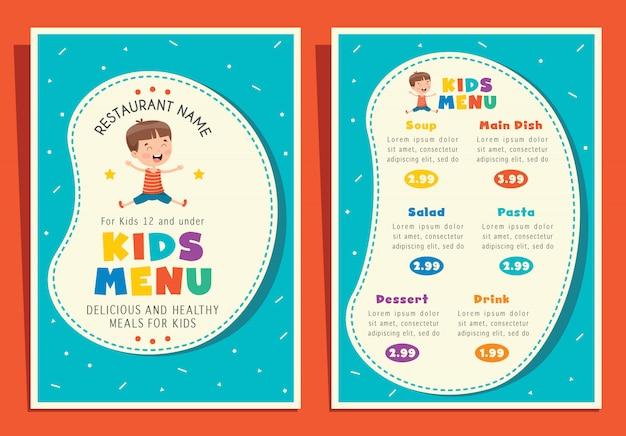 Szablon menu ładny kolorowy dzieci posiłek