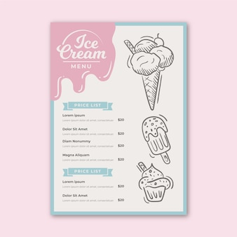Szablon menu lodów