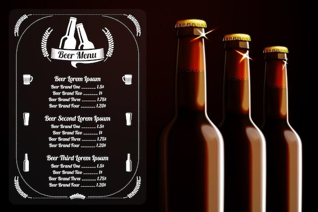 Szablon menu lub baner na piwo i alkohol z miejscem na logo pubu, restauracji, kawiarni itp. z realistycznymi trzema brązowymi butelkami piwa na ciemnym tle.