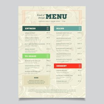 Szablon menu marmurowe zdrowej żywności