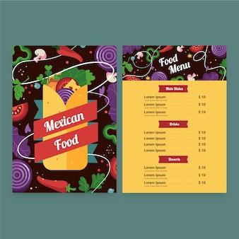 Szablon menu meksykańskie jedzenie