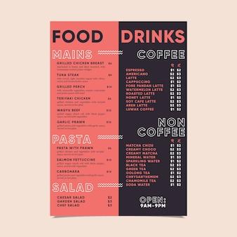 Szablon menu nowoczesne jedzenie i napoje