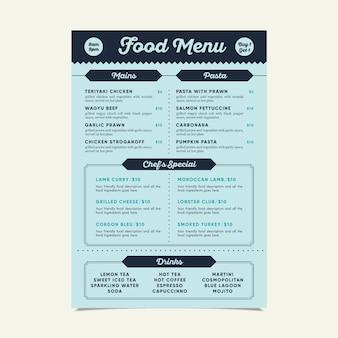Szablon menu nowoczesne jedzenie z różnych potraw
