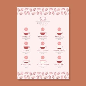 Szablon menu nowoczesnej kawy