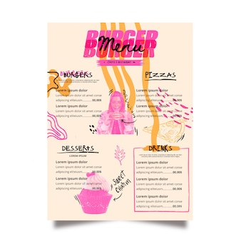 Szablon menu nowoczesnej restauracji różowy