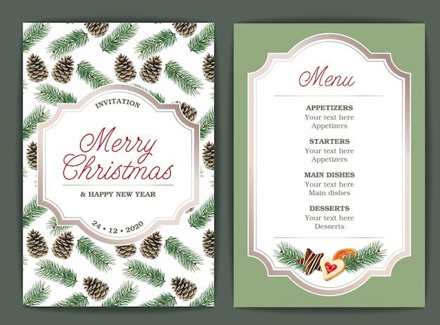Szablon menu o tematyce bożonarodzeniowej