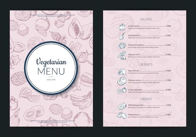 Szablon menu owoców i warzyw handdrawn wektor