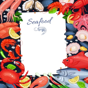 Szablon menu owoców morza do gotowania według przepisów. ilustracja z rybą, krabem, homarem, przegrzebkiem, krewetkami itp. i itp.