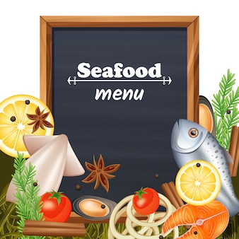 Szablon menu owoców morza