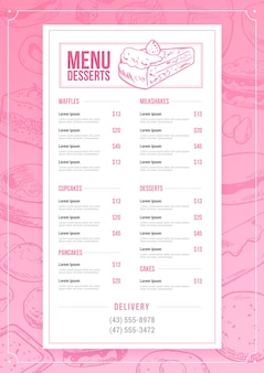 Szablon menu pionowe desery