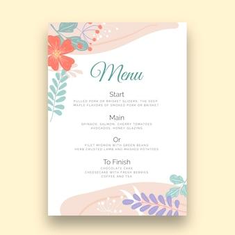 Szablon menu pionowe wesele kwiatowy