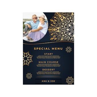 Szablon menu pionowego na rocznicę dwudziestu pięciu lat
