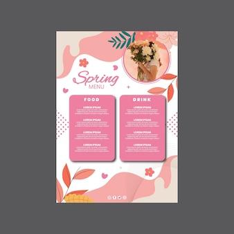 Szablon menu pionowego na wiosenne przyjęcie z kobietą i kwiatami