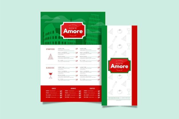 Szablon menu pionowego restauracji włoskiej żywności