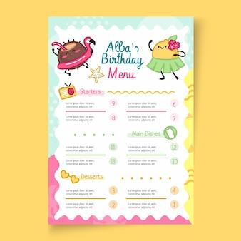 Szablon menu pionowego urodziny dla dzieci