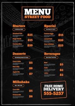 Szablon menu pionowej żywności ulicznej