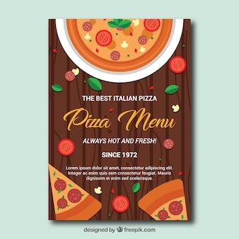Szablon menu pizza w płaskim stylu