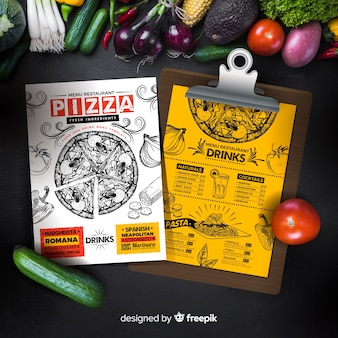 Szablon menu pizza w stylu vintage