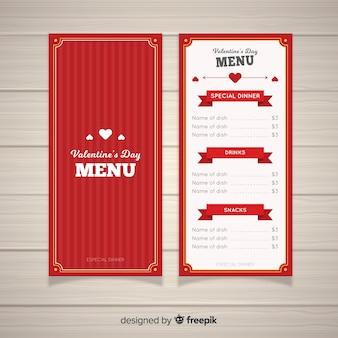 Szablon menu płaski valentine