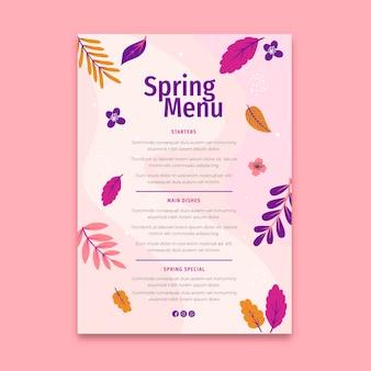 Szablon menu płaski wiosna