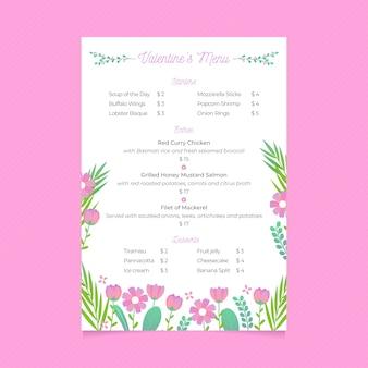 Szablon menu płaskie walentynki