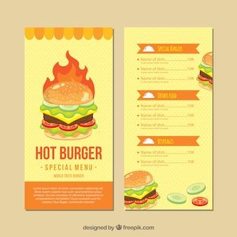 Szablon menu płaskiego burgera
