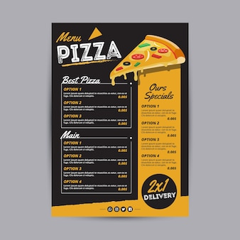 Szablon menu pysznej pizzy