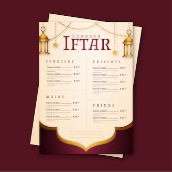Szablon menu ramadan z latarniami