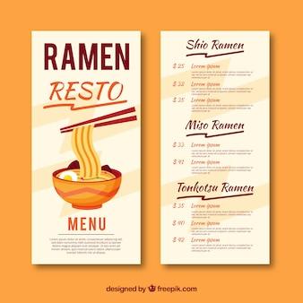 Szablon menu ramen w płaskiej konstrukcji