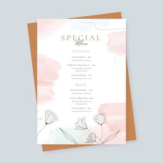 Szablon menu restauracji akwarela z kwiatami