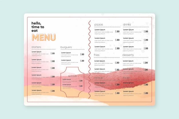 Szablon menu restauracji akwarela zdrowej żywności