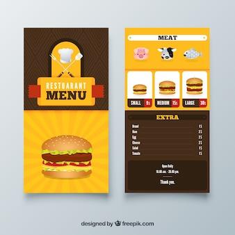 Szablon menu restauracji burger z płaskiej konstrukcji