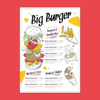 Szablon Menu Restauracji Burger Premium Wektorów