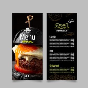 Szablon menu restauracji burgery