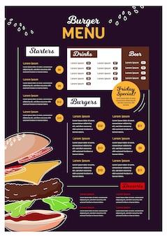 Szablon menu restauracji dla platformy cyfrowej w formacie pionowym