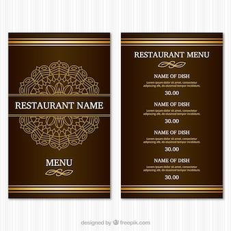 Szablon menu restauracji golden