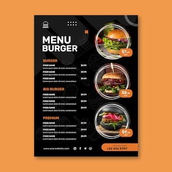 Szablon menu restauracji hamburgery