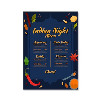 Szablon menu restauracji indyjskiej