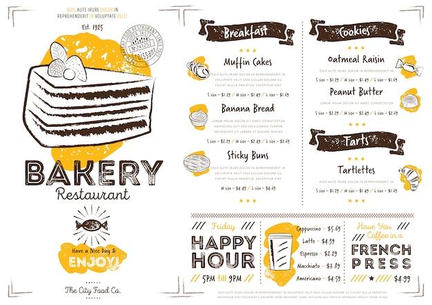 Szablon menu restauracji kawiarnia piekarnia