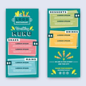 Szablon menu restauracji kolorowe zdrowej żywności