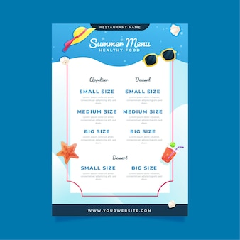 Szablon menu restauracji lato
