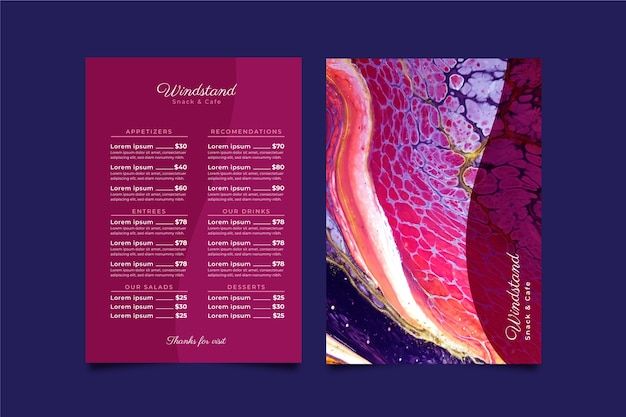 Szablon menu restauracji marmurowe zdrowej żywności
