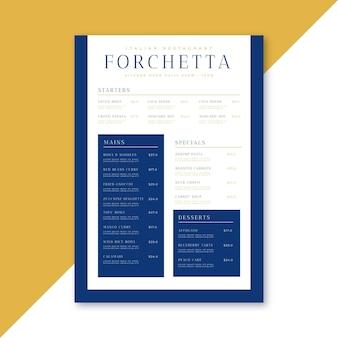 Szablon menu restauracji minimalistycznej forchetta