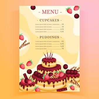 Szablon menu restauracji na przyjęcie urodzinowe